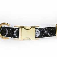 Black dog collar, adjustable moon cycle print