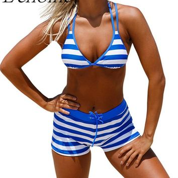 Echoine 2017 Striped High Waist Women's Swimsuits Chambray Cottage Halter Push Up Bikini Boyshort Set Summer Beach Swim Wear