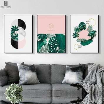 Nordic Tropical Plants Green Leaf Poster Geometric Annular Ring Pink Green Colors Paintings Wall Art Print For Room Decor