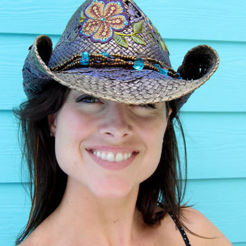 Hand painted bronze and purple cowgirl hat by ALilThisALilThat