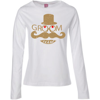 Groom Team Mustache And Top Hat Wedding Bachelor Party  Ladies' Long Sleeve Cotton TShirt