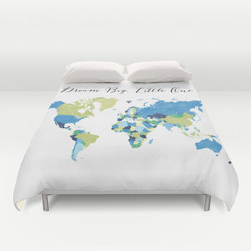 Dream big little one world map in blue, lime green & navy blue Duvet Cover by BlursbyaiShop