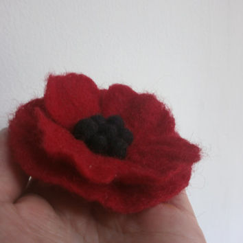 Felt flower, black red poppy  felt brooch flower,felt brooch, felt pin,balls accessories, felt jewelry, flower wedding ,Christmas gift ideas