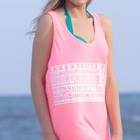 Limited Edition Unisex Aztec Tank Top in Neon Pink by Southern Marsh