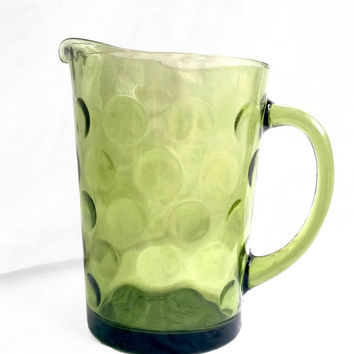 Elegant Vintage Pitcher with Beveled Green Glass; Mid Century Kitchen and Patio Decor