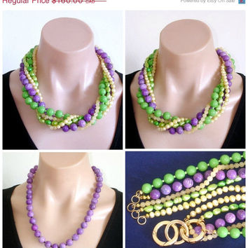 WOW-Y 65% OFF: Ashira 5 Strand Necklace of Green, Purple, Yellow Jade, Fresh Water Pearls, Sugilite - Wear 25 different ways.