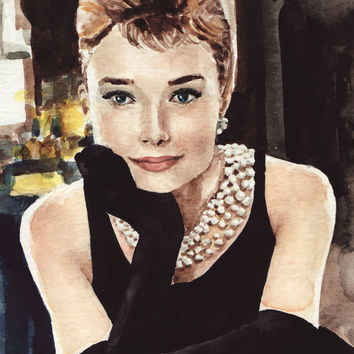 Audrey Hepburn Art Painting Breakfast at Tiffanys - ORIGINAL Watercolor 8 x 10 - Holly Golightly Truman Capote Givenchy Pearls LBD