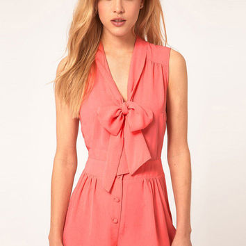 Tie Collar Sleeveless V-Neck Chiffon Romper