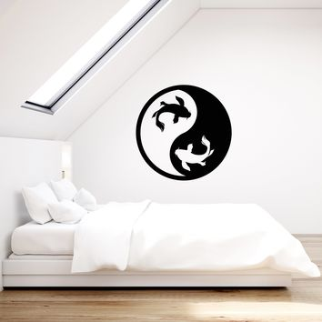 Vinyl Wall Decal Zen Koi Fish Yin Yang Asian Room Decoration Art Stickers Mural (ig5537)