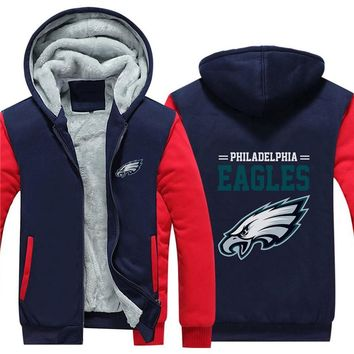 NFL American football Men's winter casual jacket Warm thicken hoodies Philadelphia Eagle