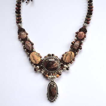 Isha Elafi Kris Necklace in Browns with a Brown Opal