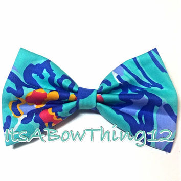 Lilly Pulitzer Blue Mai Tai Printed Bow