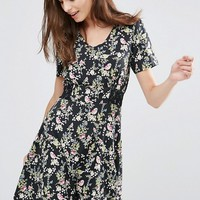 Yumi Floral Print Tea Dress at asos.com