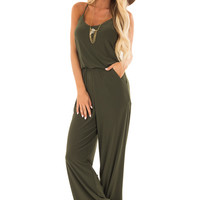 Olive Slinky Jumpsuit with Elastic Waist and Pockets