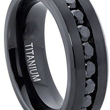 Men's Black Titanium Ring Wedding Engagement Band With 9 Large Channel Set Black CZ, 8mm