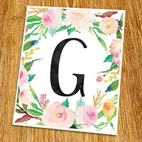 "G Monogram Print (Unframed), Nursery Wall Decor, Flower Letter, Floral Alphabet, Living Room Decor, Initial Print, Typography Print, Watercolor, 8x10"", TB-062"