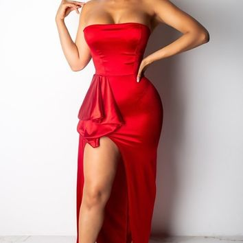 Ruby Road Red Satin Strapless High Slit Ruffle Hip Draped Sash Maxi Dress