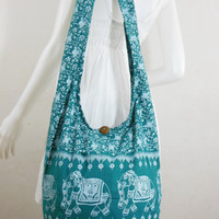 Turquoise Cotton Printed Standing Elephants Crossbody Shoulder Hippie Boho Hobo Messenger Bag E-EB09