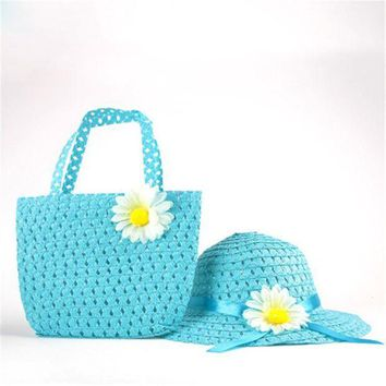 CUPUP9G 2016 Cute Toddler Kids Girls Beach Suit Summer Straw Floral Handbag+Sun Hat Cap Suit