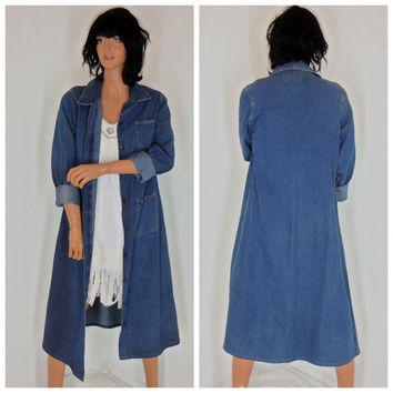 Denim duster, size M, long jean coat or dress, boho