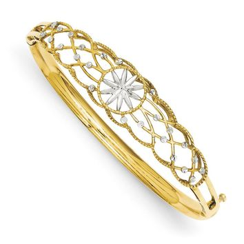14k Yellow Gold & White Rhodium Diamond Cut Graduated Bangle Bracelet