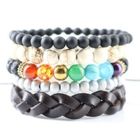 5 Layers Beaded Bracelets Women Yoga Jewelry Lava Stones with 7 Lucky Beads Strand Bracelets & Bangles Men Wristband Cuff
