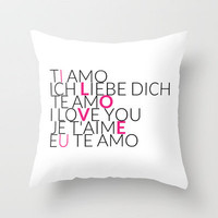 I Love U - 6 Languages - Pink Throw Pillow by cooledition | Society6