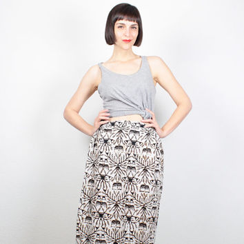 Vintage 90s Skirt Maxi Skirt Tribal Print Skirt 1990s Skirt Boho Festival Batik Hippie Skirt Cream Black Tan Bohemian Skirt M Medium