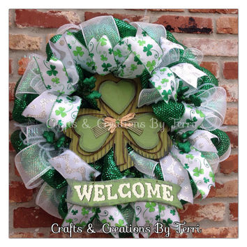 Welcome Shamrock Wreath - St. Patrick's Day Wreath - St. Patty's Day- Shamrock Wreath - Deco Mesh Wreath - Door Decor - Ready To Ship
