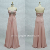 Beaded Sweetheart Pink Full Length Prom Dresses