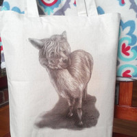 Tote Bag with White Llama Natural Off White READY to SHIP