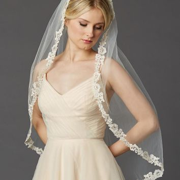 Rum Pink Fingertip Length Mantilla  Veil with Embroidered Lace Edge