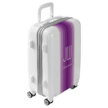 Personalized Monogram Initials Purple Stripe Luggage