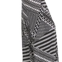 Black and White Zig Zag Printed Palazzo Pants