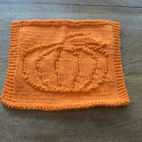 Hand Knit Orange Pumped Up Pumpkin Wash Cloth or Dish Cloth