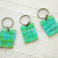 It's my lucky charm metal dangles, add to glass keychains orders, DIY earrings craft projects, corchet stitch markers