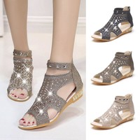 2018 Ankle Strap Heels Women Sandals Spring Summer Shoes Ladies Women Wedge Sandals Fashion Fish Mouth Hollow Roma Shoes