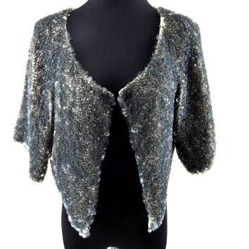 Olive Sequined Cropped Jacket Size:M