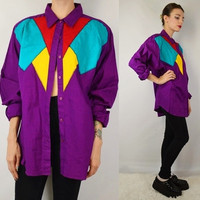 90s Western Shirt Wrangler Southwest Soft Grunge Hipster Vintage Womens Clothing Size XL Large Cowgirl Turquoise Purple Vibrant Bright Rodeo
