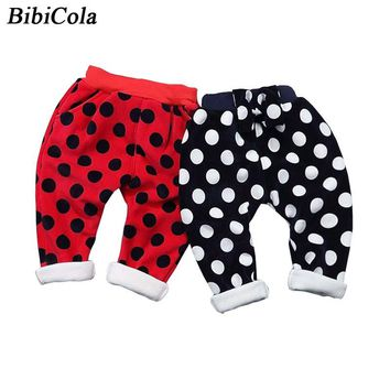 BibiCola Baby Girls Pants Winter Kids Warm Leggings Boys polka dot Trousers Children Girls Cotton Velvet Warm Leggings Costumes