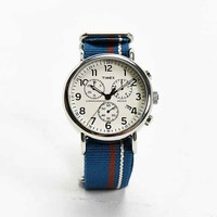 Timex Striped Band Weekender Chrono Watch- Navy One