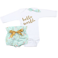 Baby Newborn take home outfit | Mint Floral, Gold Hello World Outfit | High Waisted Bloomers and Knotted Headband