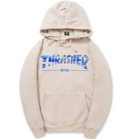 Beige Bling Thrasher Printed Sweatershirt Hoodies G