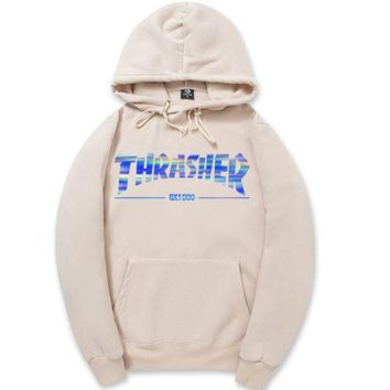 Day-First™ Beige Bling Thrasher Printed Sweatershirt Hoodies