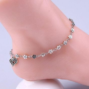 LMFON Summer Women Silver Bead Chain Anklet Ankle Bracelet Barefoot Sandal Beach Foot Jewelry (Color: Silver) [10586140628]