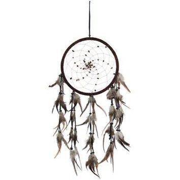 Dream Catcher With Tiger Eye Beads And Brown Spiral Web