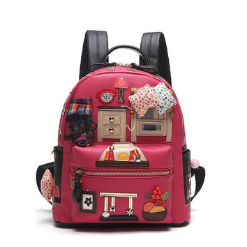 Leather Backpacks for Teenage Girls Korean School Backpack Stylish Handmade Limited Satchel High Quality School Bags
