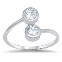 Sterling Silver Two Round Cubic Zirconia Toe Ring