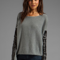 PJK Patterson J. Kincaid Leather Sleeve Pullover Sweater in Uniform Grey/Stretch Limo from REVOLVEclothing.com
