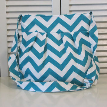 New! Turquoise and white Chevron Skylar Crossbody Handbag - Woman's Purse -